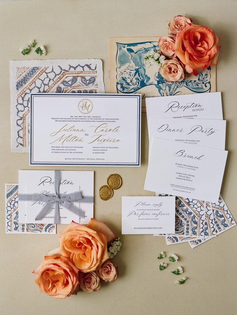 Custom stationery inspired by portuguese tiles with peach flowers and fun details