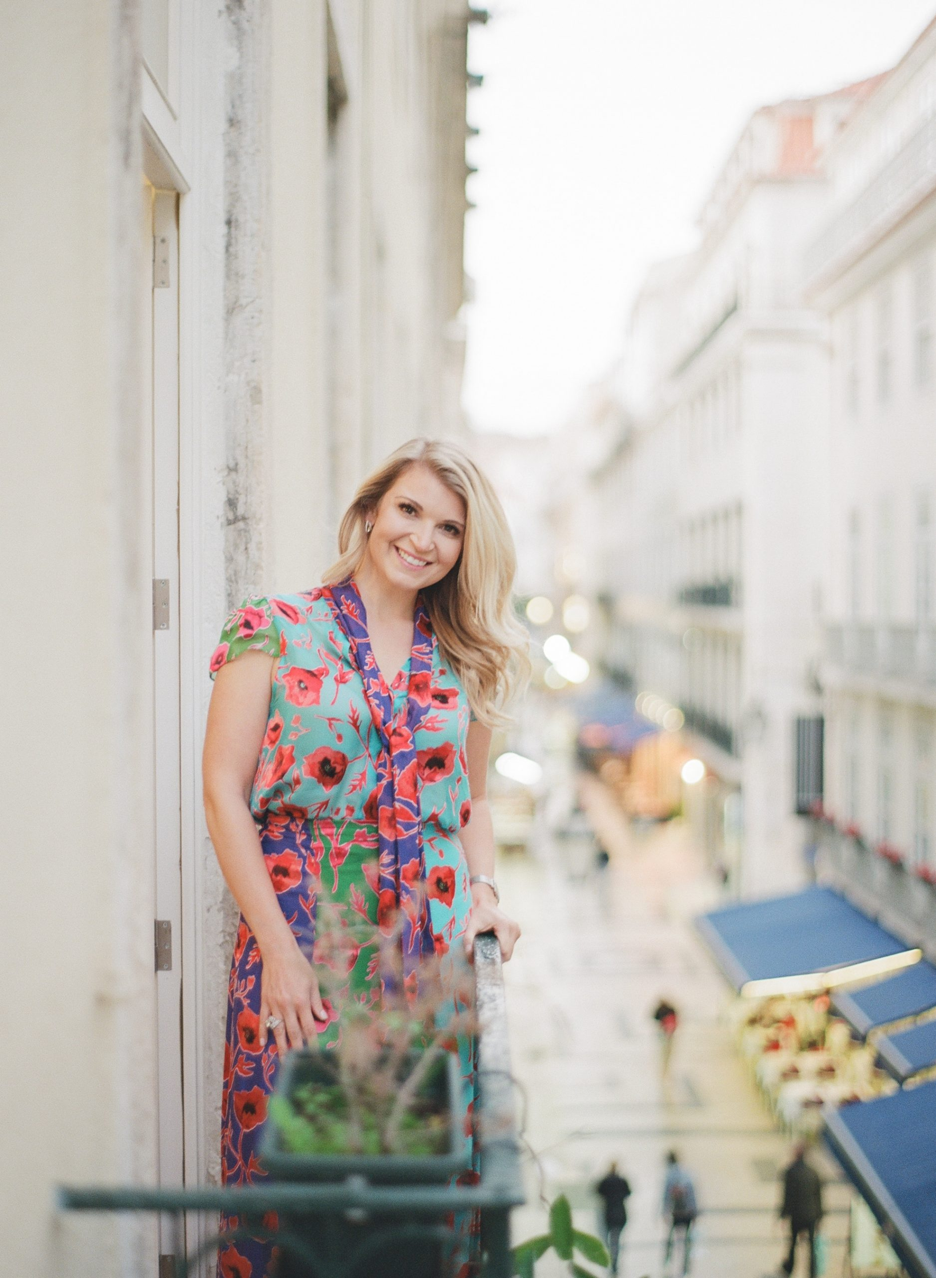 picture of Juls sharpley on a balcony in Lisbon Portugal